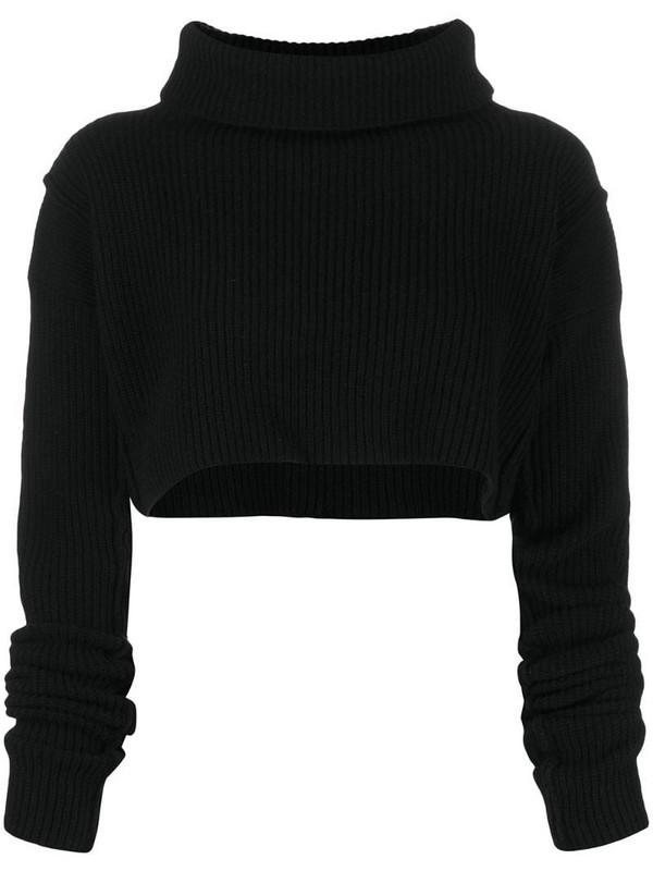 Andrea Ya'aqov cropped wool knit top in black