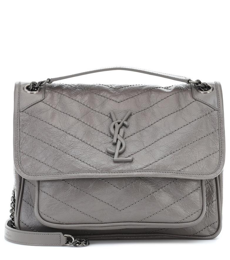Saint Laurent Niki Medium leather shoulder bag in grey