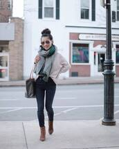 jeans,skinny jeans,high waisted jeans,brown boots,ankle boots,shoulder bag,knitted sweater,scarf