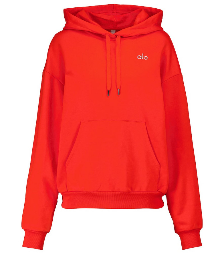 Alo Yoga Accolade cotton-blend hoodie in red