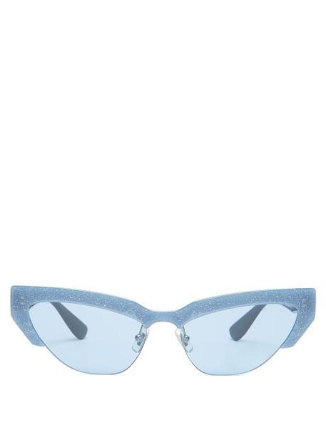 Miu Miu - Glitter Trim Acetate Cat Eye Sunglasses - Womens - Blue