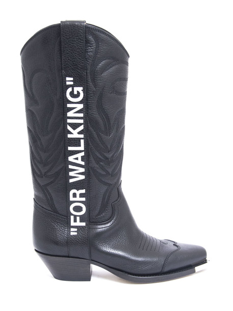 Off-White for Walking Leather Cowboy Boots in nero