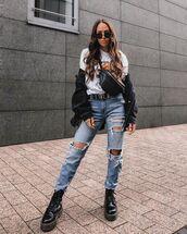 jeans,ripped jeans,black boots,denim jacket,black jacket,white t-shirt,belt bag