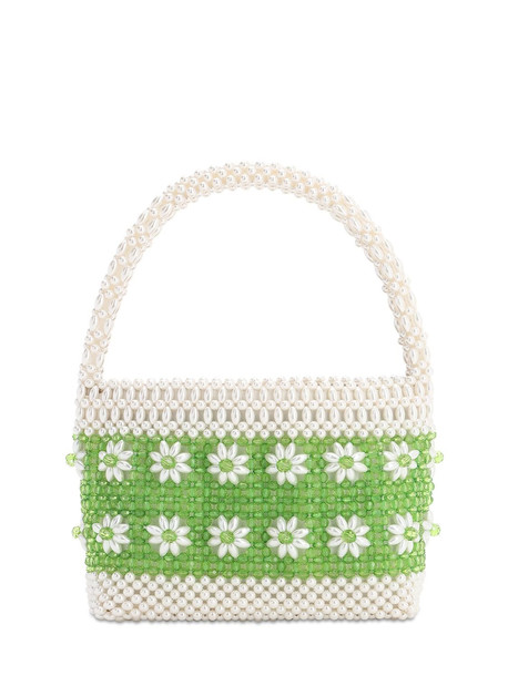 SHRIMPS Ida Beaded Top Handle Bag in cream