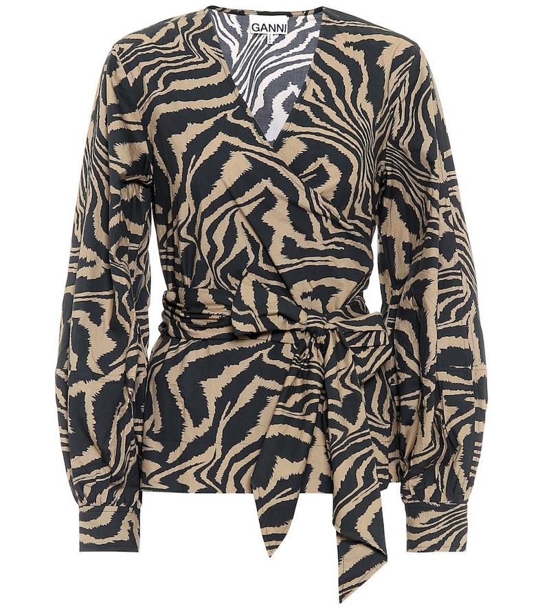 Ganni Zebra-print cotton-poplin top in black