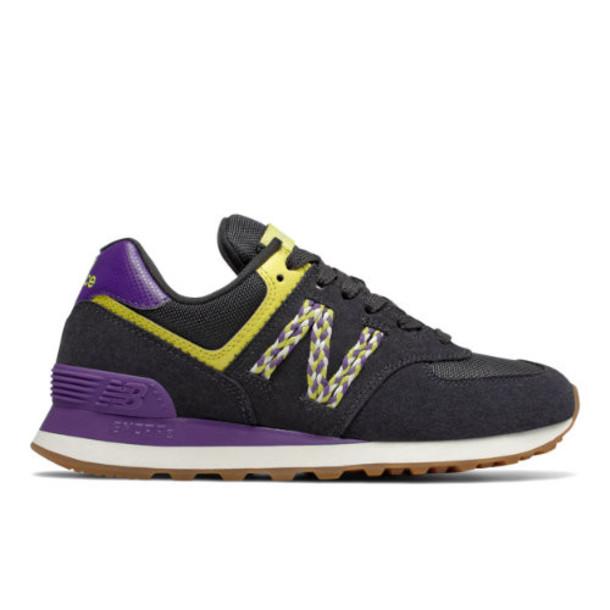 New Balance 574 Women's 574 Shoes - Black/Purple/Green (WL574LDN)