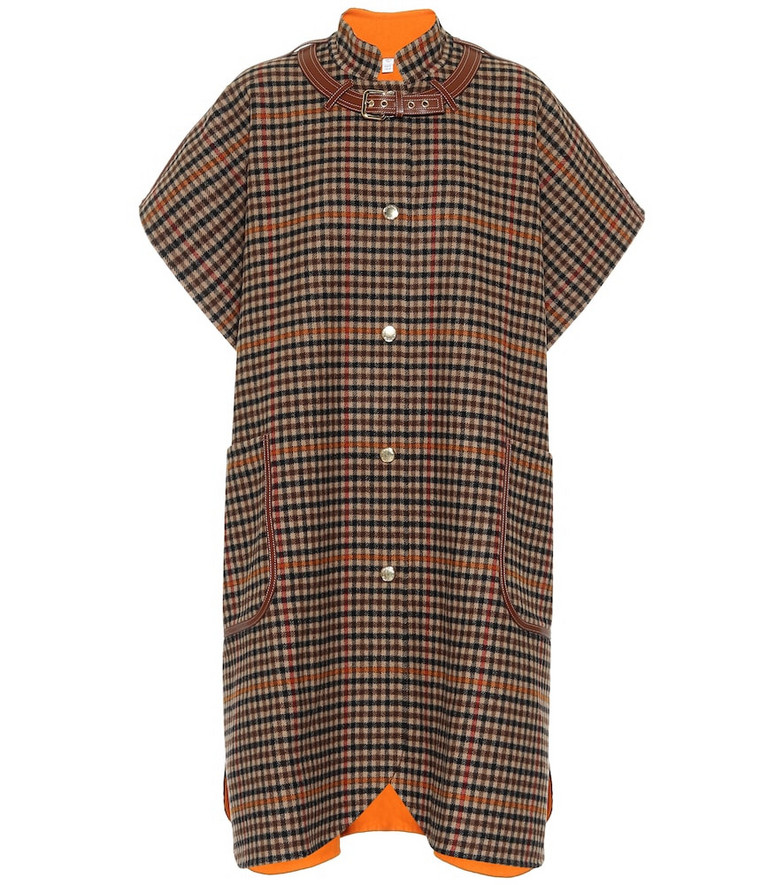 Burberry Leather-trimmed checked wool cape in brown