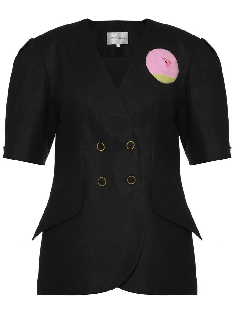 GEORGE KEBURIA Rose Embellished Linen Jacket in black