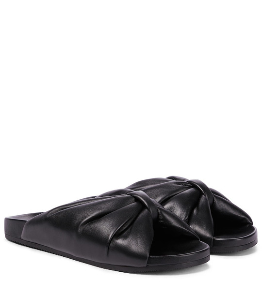 Balenciaga Puffy leather slides in black
