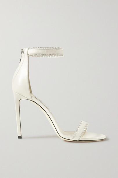 Jimmy Choo - Dochas 100 Crystal-embellished Leather Sandals - Ivory