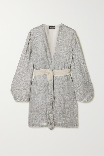 Retrofête - Gabrielle Velvet-trimmed Sequined Chiffon Mini Wrap Dress - Silver