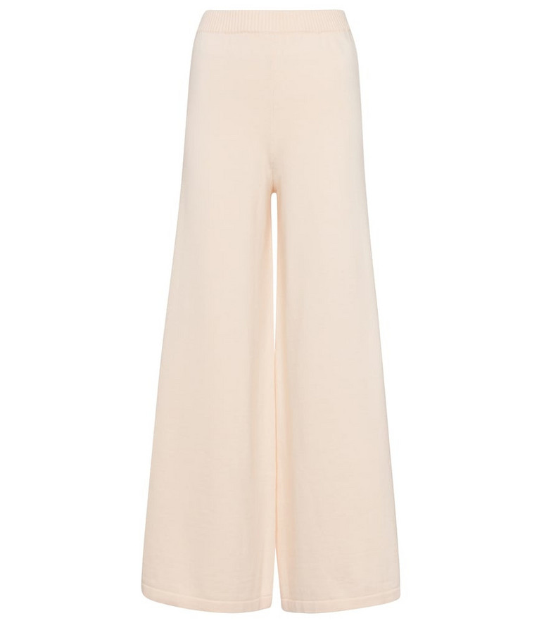 Staud Mitchell wide-leg cotton-blend pants in beige