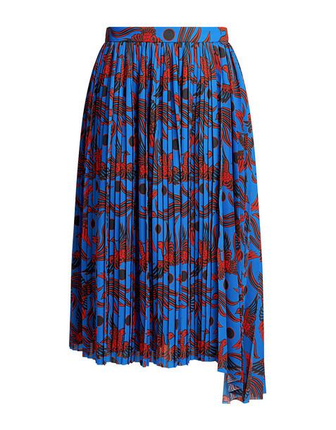 Kenzo Flying Phoenix Silk Pleated Crepe Asymmetric Midi Skirt Blue
