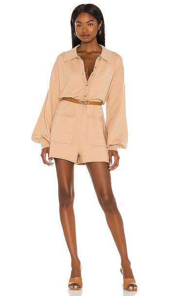 Show Me Your Mumu Gianni Romper in Nude in camel