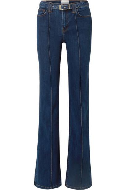 Current/Elliott - The Admirer Belted High-rise Flared Jeans - Dark denim