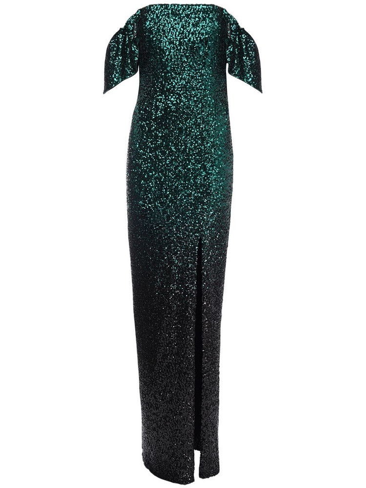 MARCHESA NOTTE Off-the-shoulder Sequined Long Dress in emerald