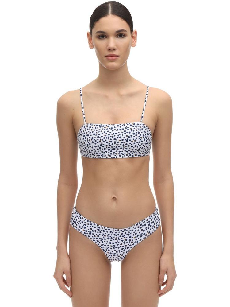 DOS GARDENIAS Leon Lycra Bikini Top in white / multi