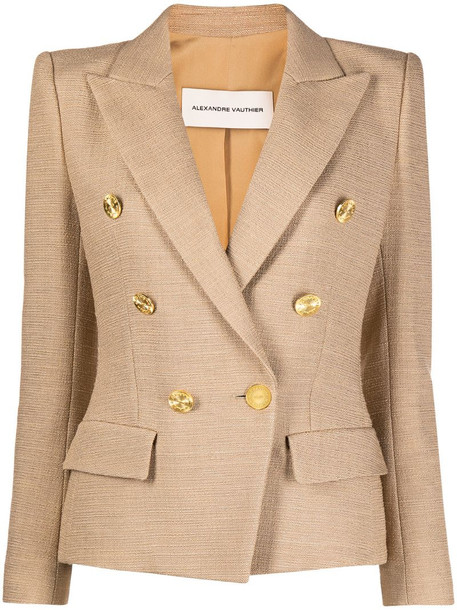 Alexandre Vauthier fitted double-breasted blazer in neutrals