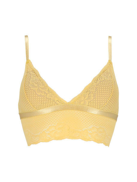 UNDERPROTECTION Lvr Sustainable Lisa Lace Triangle Bra in yellow