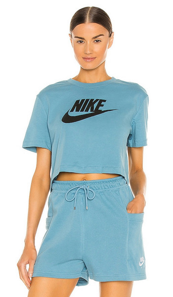 Nike W NSW Tee Essntl Crp Icn Ftr in Teal in black