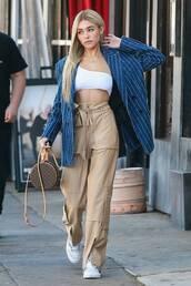 top,crop tops,madison beer,pants,blazer,oversized,celebrity,streetstyle