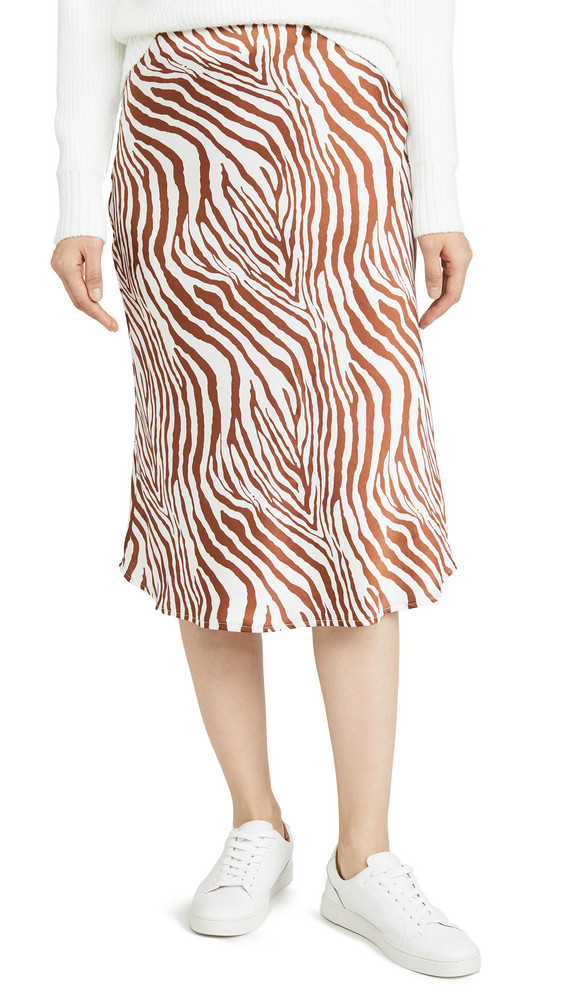 re:named re: named Wild Zebra Midi Skirt in brown / white
