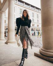 top,black blouse,isabel marant,knee high boots,black boots,midi skirt,wrap skirt,white bag