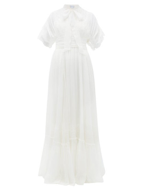 Luisa Beccaria - Pussy-bow Lace And Silk-crepe Gown - Womens - White