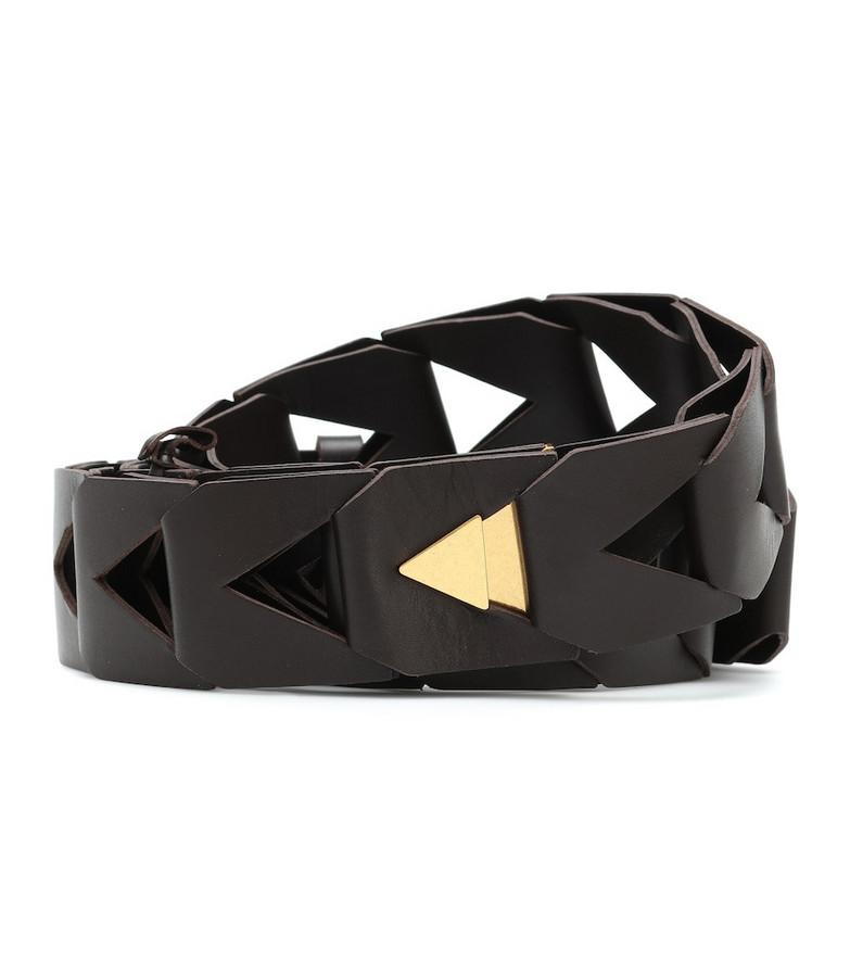 Bottega Veneta Cut-out leather belt in black