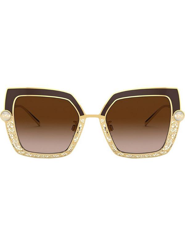 Dolce & Gabbana Eyewear Filigree & Pearls square-frame sunglasses in brown