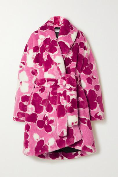Balenciaga - Belted Floral-print Faux Fur Coat - Pink