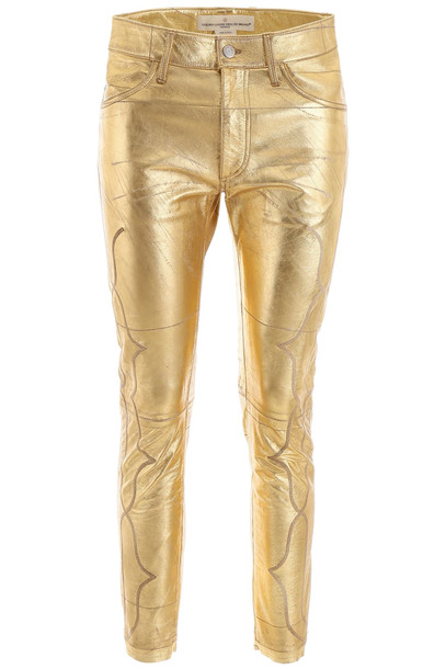 Golden Goose Leather Trousers in gold