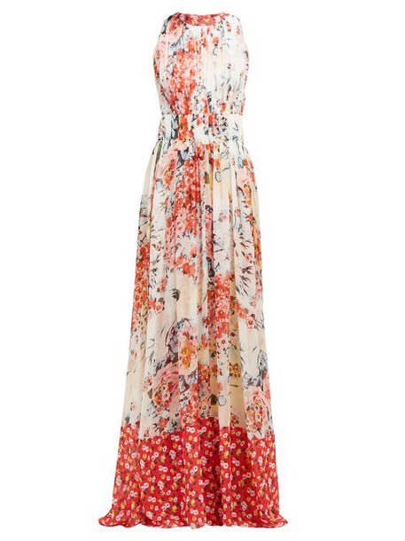 Carolina Herrera - Floral Print Gathered Silk Chiffon Gown - Womens - White Multi
