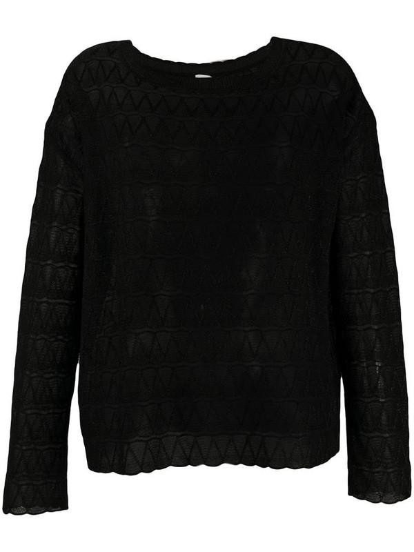 M Missoni boat-neck zigzag jumper in black