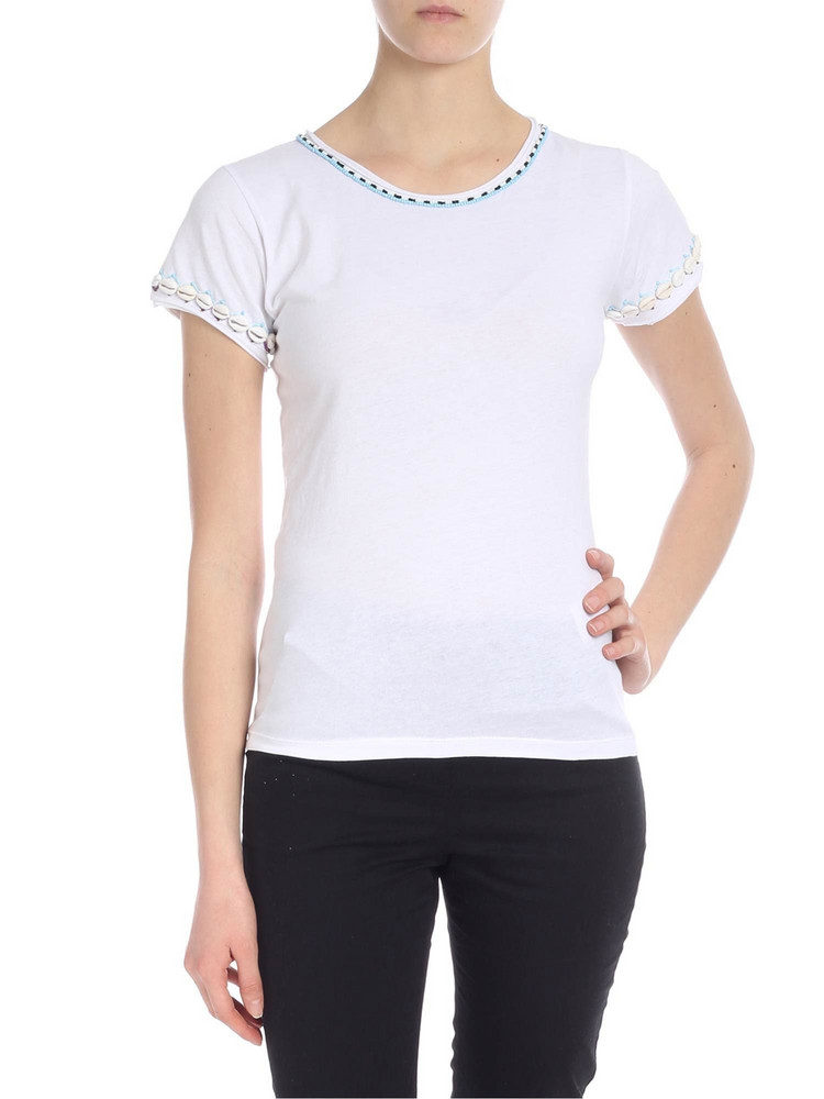 Parosh Embroidered Shells T-shirt in white
