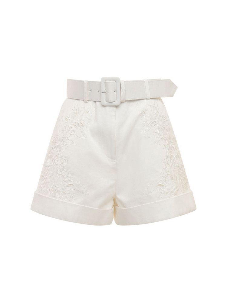 SELF-PORTRAIT Belted Embroidered Cotton Canvas Shorts in white
