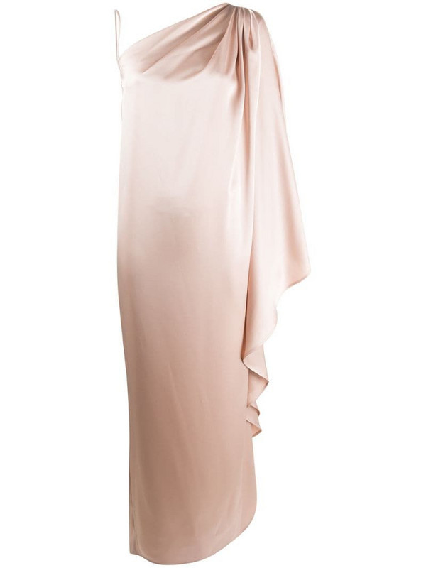 Gianluca Capannolo draped asymmetric evening dress in neutrals