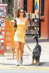 shoes,grey sneakers,emily ratajkowski,mini dress,streetstyle,model off-duty,summer outfits
