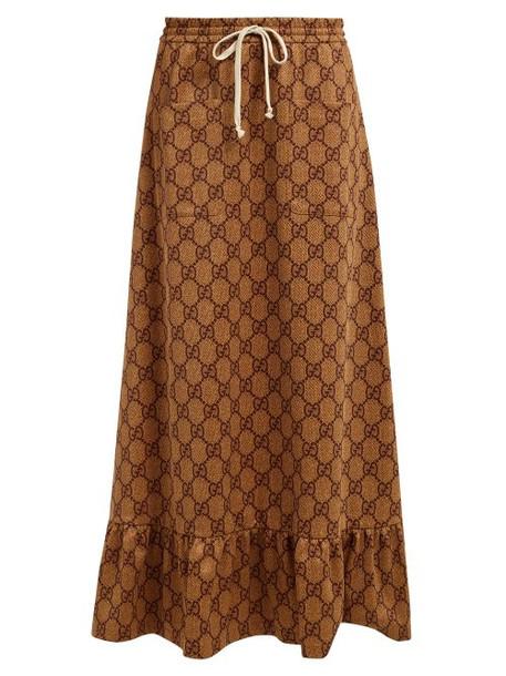 Gucci - Gg Print High Rise Maxi Skirt - Womens - Beige Multi