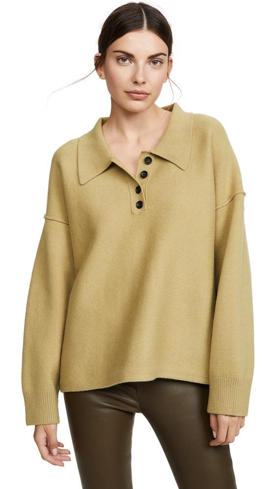 Alexander Wang Oversized Long Sleeve Polo Shirt in green