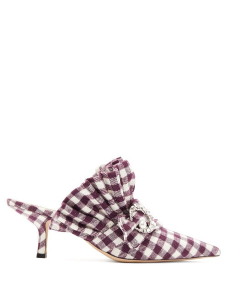 Midnight 00 - Crystal Moon Checked Cotton Mules - Womens - Burgundy White