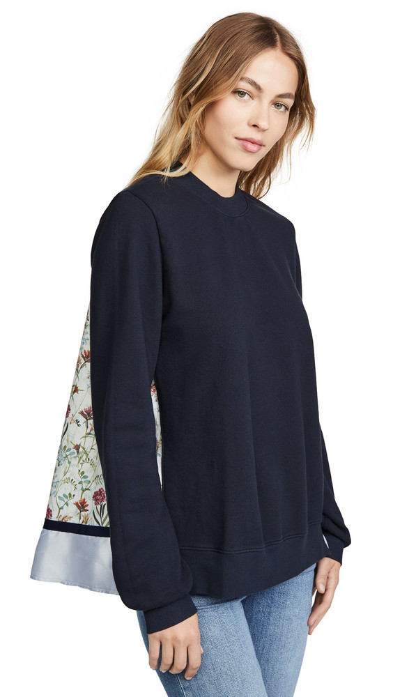 Clu Mix Media Floral Pullover in navy