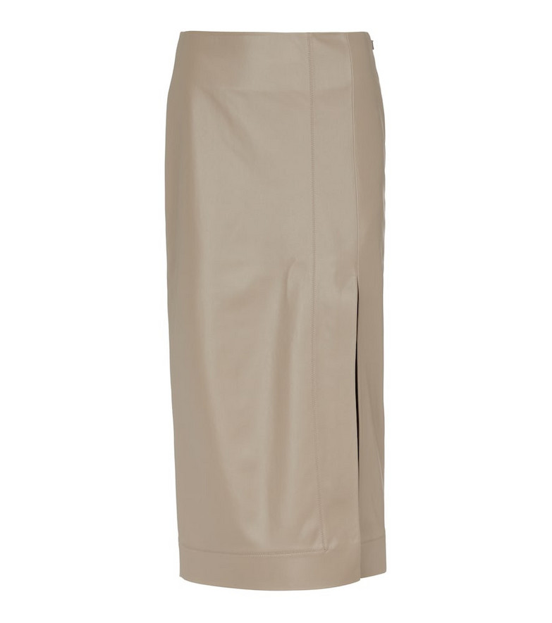 Safiyaa Madelle faux leather midi skirt in beige