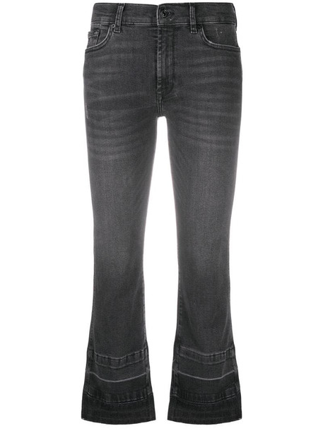 7 For All Mankind Illusion cropped bootcut jeans in black