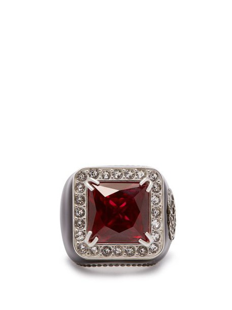 Gucci - Crystal Encrusted Gg Logo Signet Ring - Womens - Red