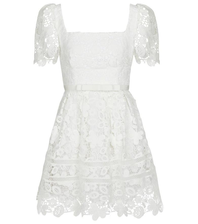 Self-Portrait Bridal guipure lace floral minidress in white