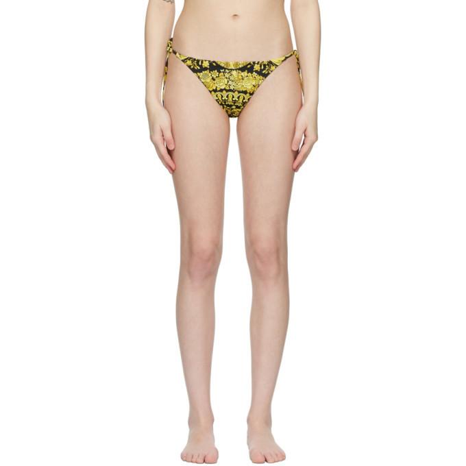 Versace Underwear Black and Yellow Barocco Bikini Bottoms in gold