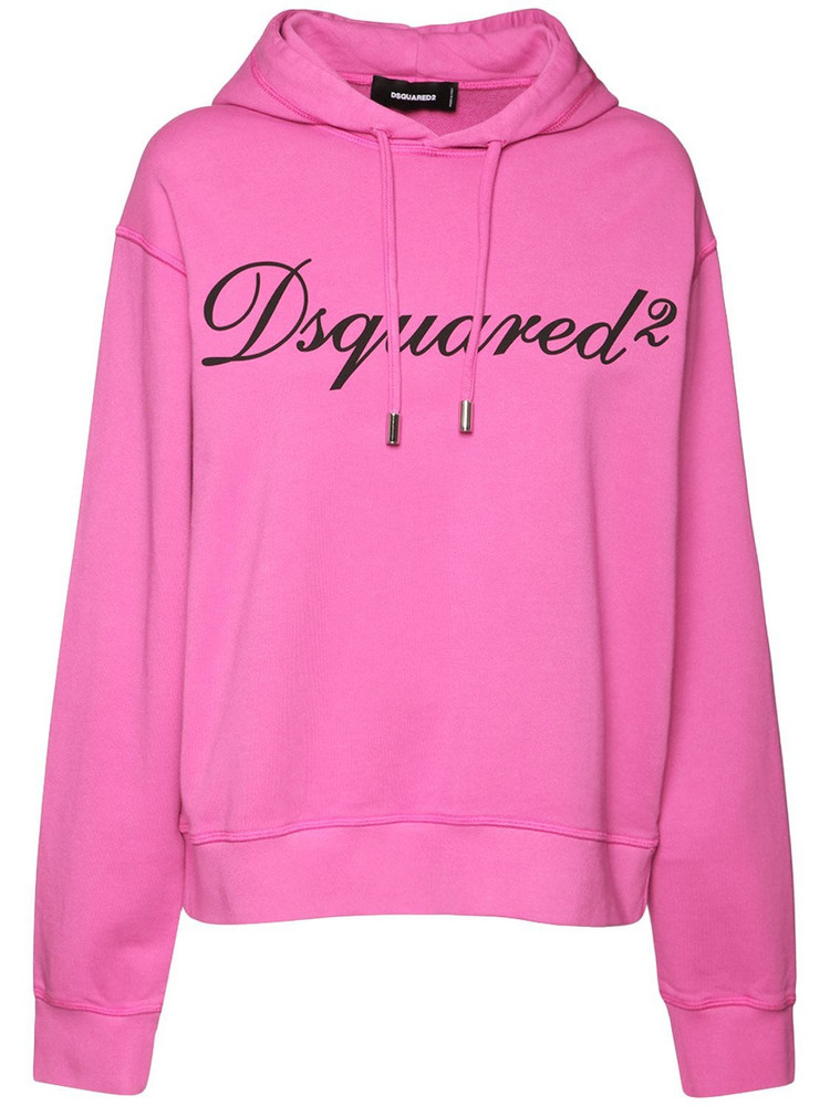 DSQUARED2 Big D2 Italic Logo Cotton Jersey Hoodie in pink