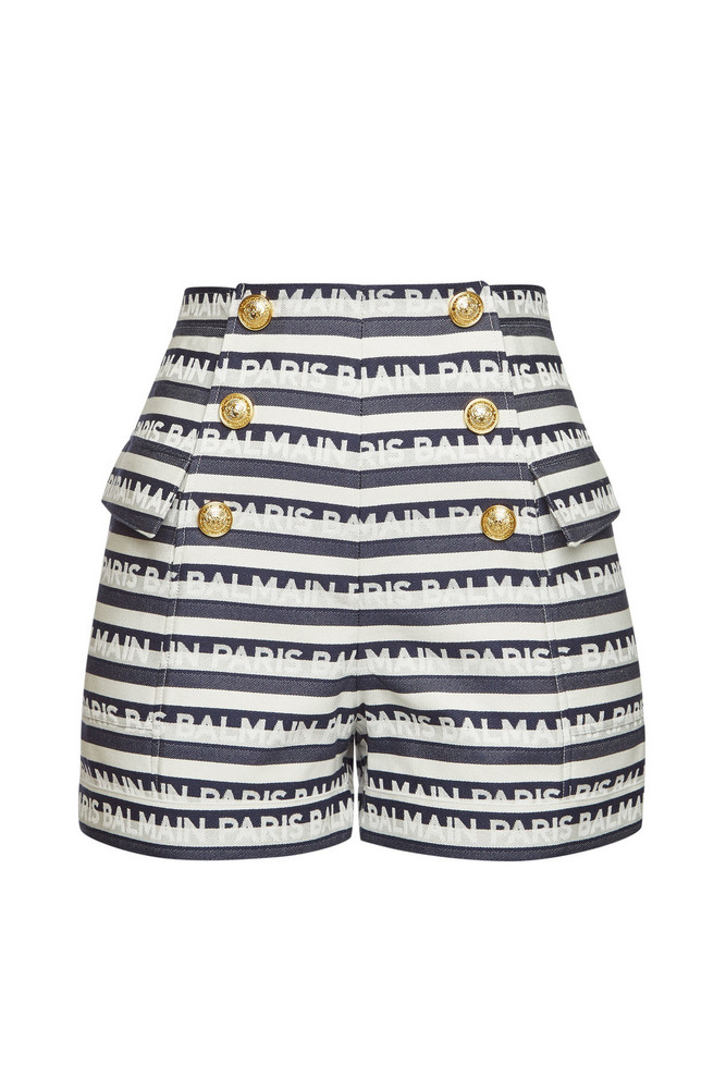 Balmain Striped Cotton Shorts with Embossed Buttons