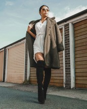 shoes,over the knee boots,black boots,shirt dress,teddy bear coat